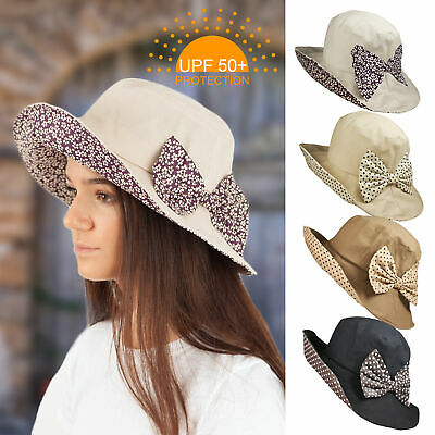 Upf 50+ Protection Ladies Cotton Linen Brim Summer Sun Hat Polka Spot Bow Trim