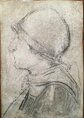 LS Lowry Graphite Line Drawing Portrait Woman Hand Signed Vintage