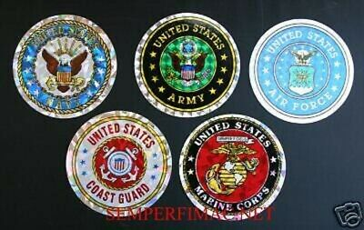 Five 5 Sticker Set Us Army Marines Navy Air Force Coast Guard Zap Decal Dod Wow