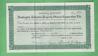1943 Huntington Palisades Property Owners Certificate & Articles By-Laws Rare