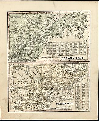 Canada East & West Lake Huron 1860 fine old vintage cerographic antique map