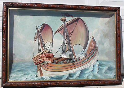 Antique Marine Ship Nautical Ocean Carved Plaster Hand Painted Diorama Shadowbox