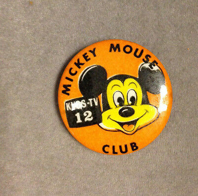 1950S/60S Scarce State Of Washington Mickey Mouse Club Kvos-Tv Pin Back Button