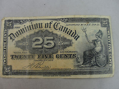 1900 Domination of Canada 25c Bank Note Fractional Currancy