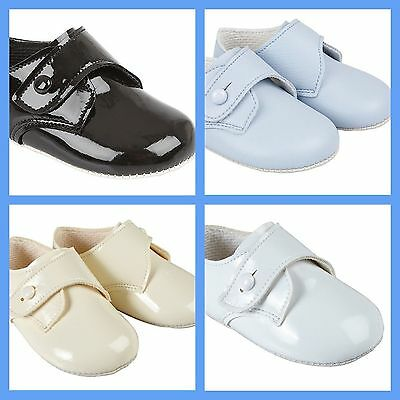 Baby Boys Baypods Soft Pram Shoes Bay Pods Blue-Cream-White Patent-Matt Reborn