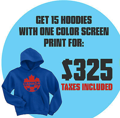 15 Custom Pullover Hoodies With 1 Colour 1 Location Screen Print