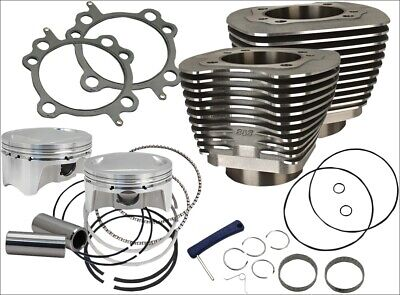 "S&S Cycle 107"" CI Big Bore Cylinder Kit Black 9.9:1 Compression 07-16 Harley"