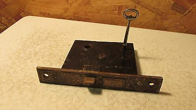 Antique Cast Iron Eastlake Mortise Lock & Key   No. 17