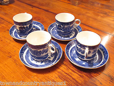 Adderleys, Made In England Cup And Saucer (4) Early Deep Blue. Immaculate Set