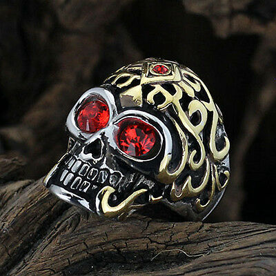Super Cool Heavy Duty Stainless Steel Skull Biker Ring with Gold Pattern