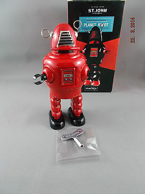 Wind Up Tin Toy - PLANET Robot - Small Red