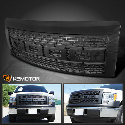 2009-2014 Ford F150 Raptor Style Bumper Hood Grille Carbon Fiber Look w/Shell