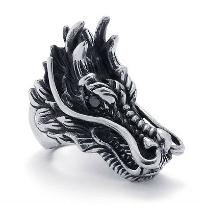 Super Cool Heavy Duty Stainless Steel Big Dragon Head Ring