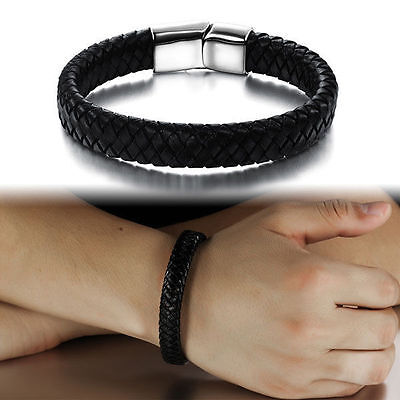 Mens Bracelet Bangle Wristband Braided Punk Leather Wrap Stainless Steel Clasp