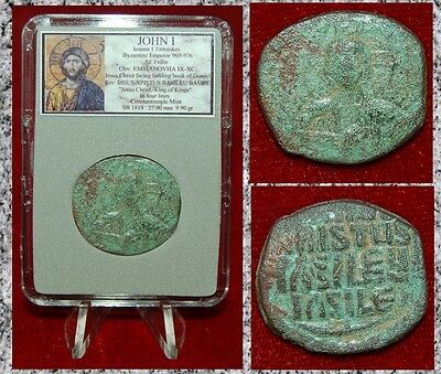 Ancient Byzantine Empire Coin JOHN I JESUS CHRIST Holding Gospel Constantinople