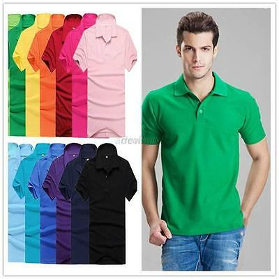 New Men's Solid Casual Slim Fit Short Sleeve Polo Shirt T-shirts Tee Shirt Tops