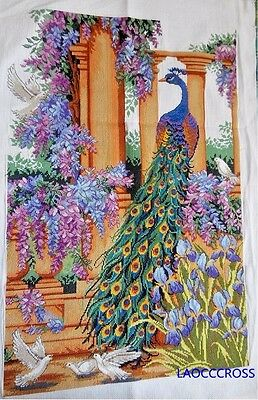 "New finished completed Cross stitch"" Beautiful peacock""home decro free shipping"