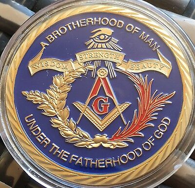 Masonic Blue Freemason Collectors Coin Medal Fatherhood Brotherhood 24k Gold