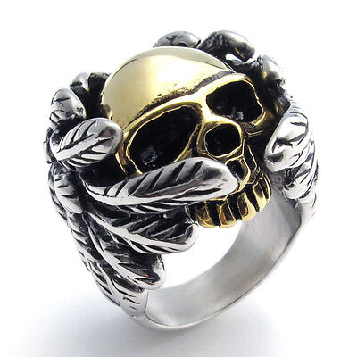 Super Cool Heavy Duty Stainless Steel Feather Angel Wing Skull Biker Ring