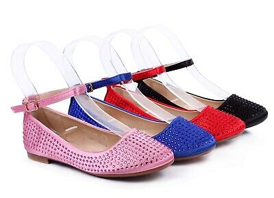 Blink Cute Ankle Strap Princess Kids Flats Girls Dress Shoes Youth Size 9 - 4
