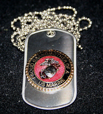 Proud Grandmother Of A Us Marine Dog Tag Pin Up Graduation Gift Son Mom Dad Mr