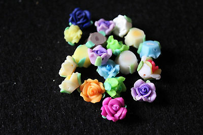 Polymer clay 3D flowers 10mm  - jewellery making