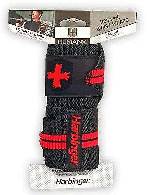 "Harbinger HumanX Red Line 18"" Wrist Wraps Thumb Loop WeightLifting Cross 1 pair"