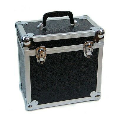 "12"" LP Vinyl Record Aluminium DJ Flight Carry Case Black Holds 50"