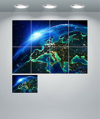 Planet Earth From Space At Night Giant Wall Art Poster Print