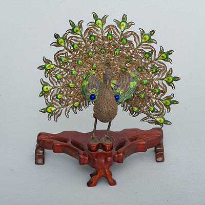 Antique Chinese Silver Filigree & Enamel Peacock Figure on Rosewood Stand 7""