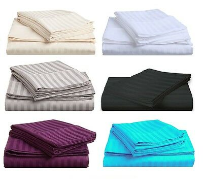 1000TC Egyptian Cotton Queen or King Size Fitted Sheet Set (Stripe). 3 Pieces