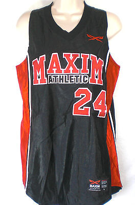 Maxim Athletic Black & Red Women Basketball jersey #24 Size large 100%Nylon New