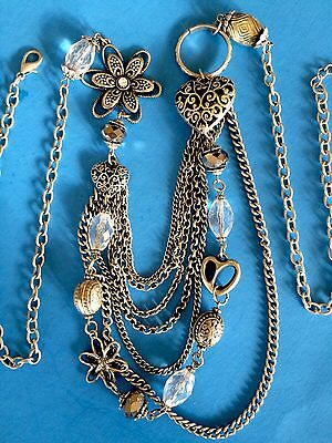 """Vtg Silver Tone Multi 7 Layer Chain Crystal Bead Heart Long SWEATER Necklace 30"""""""