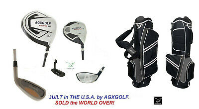 Agxgolf +2 Inch Tall Mens Exec Golf Club Set Driver+Woods+Irons+Stand Bag+Putter