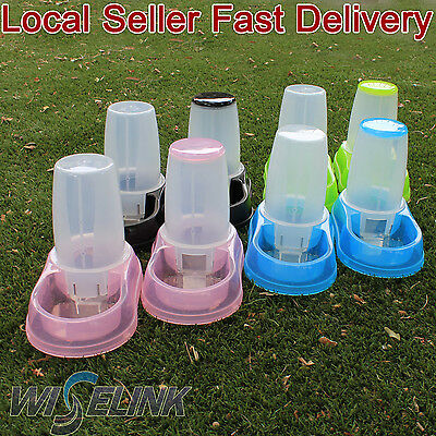 Automatic Dog Cat Food & Water Set Feeders 1.8 liters Bowls Dispensers Plastic