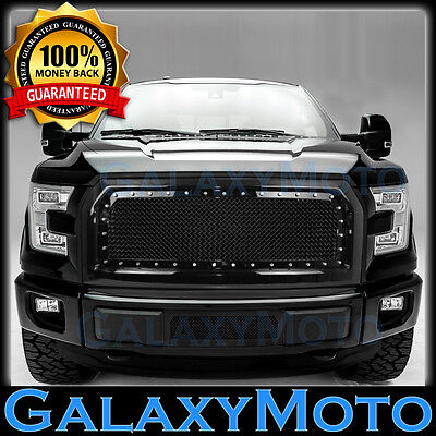 15-16 Ford F150 Direct Replacement Rivet+Black Front Hood Mesh Grille+Shell 2017