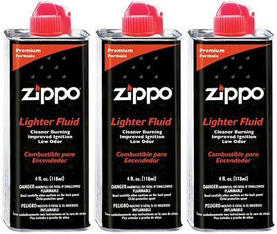 3 Cans of Genuine Zippo 4 oz.118ml Lighter Fluid Fuel