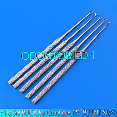 "5 Pcs Set BUCK Ear Curettes 6-1/2"" BLUNT Str ENT Surgical Instruments"