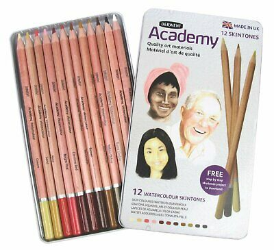 Derwent Academy 12 Watercolour Pencils, Skintones, Metal Tin