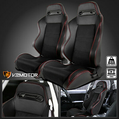 1 Pair Suede Leather JDM Red Stitch Speed Racing Seats