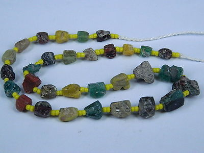 Ancient Fragment Glass Beads Strand Roman 200 BC  #BE1298