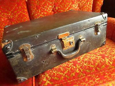 Vintage Deco Black Wood Grain Metal Suitcase 1920-30's w/Leather Handle/Corners