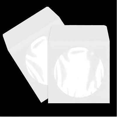 300 Pack White Paper DVD CD Sleeve Envelope with Clear Window Cut Out and Flap