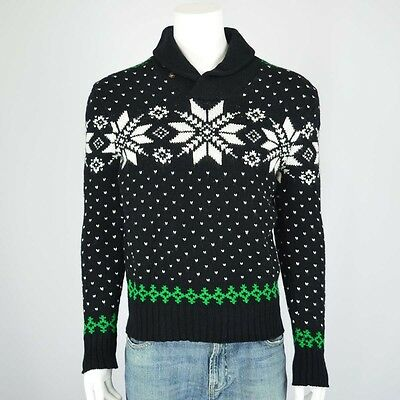50813d49e3e Polo Ralph Lauren Mens Black Fair Isle Nordic Snowflake Shawl Collar  Sweater XLT