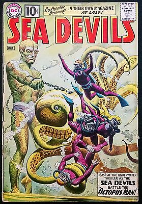 Sea Devils 1961 #1 Gd/gd+ Awesome Grey Tone Octopus Man Cover! Minor Key!