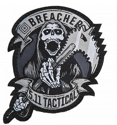 """Grey 5.11 Tactical """"Breacher"""" Embroidered Hook & Loop Morale Patch"""