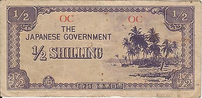 (H12-24) 1940 Japanese invasion money ½ shilling