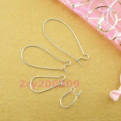 Silver Plated Kidney Earring Wire 8x16mm,12x26mm,16x39mm,19x47mm R00058