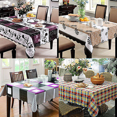 Plastic Wipe Clean Pvc Vinyl Tablecloth Dining Kitchen Table Cover Protect Decor