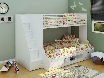 3ft & 4ft Double Triple Sleeper Storage Staircase Bunk Bed   White and Beech